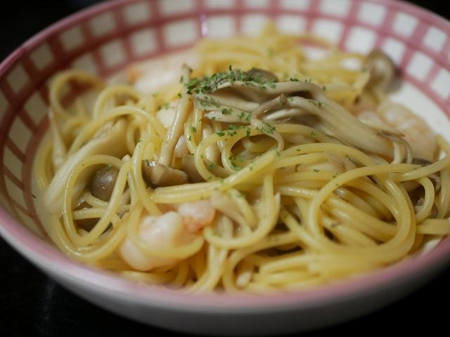 海老とキノコのスパゲッティ